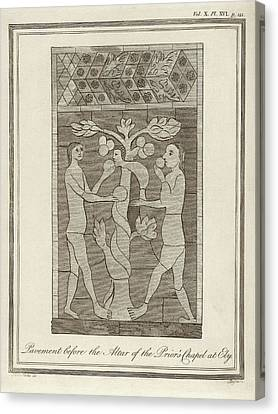 Temptation Of Adam And Eve Canvas Print by Middle Temple Library