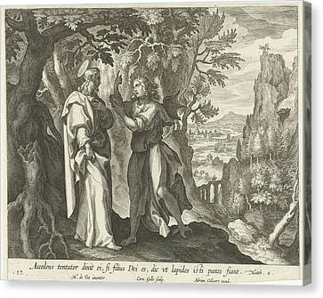 I Ask Canvas Print - Temptation Of Christ In The Desert, Print Maker Cornelis by Cornelis Galle I And Maerten De Vos
