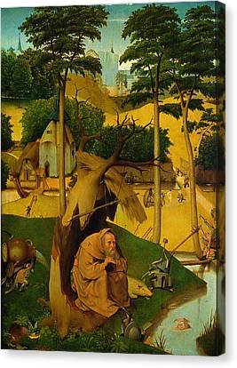 Temptation Of St. Anthony, 1490 Oil On Panel Canvas Print by Hieronymus Bosch