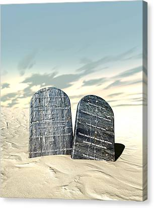 Ten Commandments Canvas Print - Ten Commandments Standing In The Desert by Allan Swart