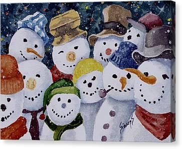 Ten Little Snowmen Canvas Print by Sam Sidders