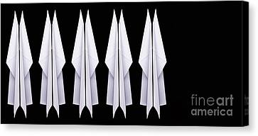 Paper Airplanes Canvas Print - Ten Paper Airplanes by Edward Fielding
