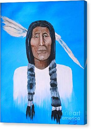 Canvas Print featuring the painting Chief Wolf Robe by Donna Dixon