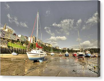 Tenby Harbour Beach N Boats  Canvas Print