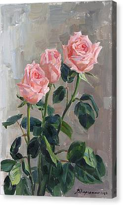Tender Roses Canvas Print by Victoria Kharchenko