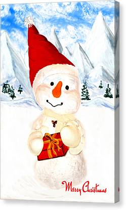 Santa Canvas Print - Tender Snowman by Gina Dsgn