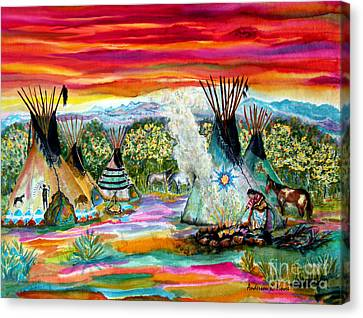 Tending The Fires Canvas Print by Anderson R Moore