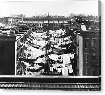 Laundry Canvas Print - Tenement Housing Laundry by Underwood Archives