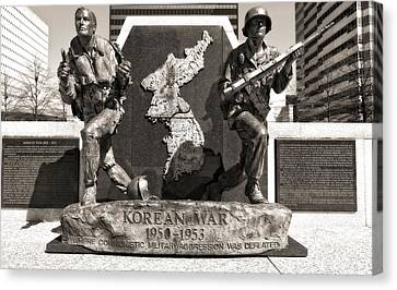 Downtown Nashville Canvas Print - Tennessee Korean War Memorial by Dan Sproul