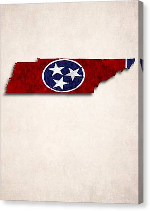 Tennessee Map Art With Flag Design Canvas Print by World Art Prints And Designs