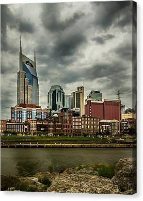 Tennessee - Nashville From Across The Cumberland River Canvas Print