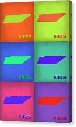 Tennessee Pop Art Map 1 Canvas Print by Naxart Studio
