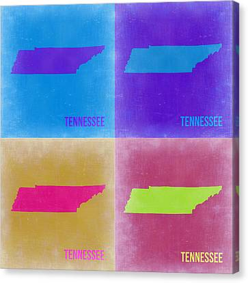 Tennessee Pop Art Map 2 Canvas Print by Naxart Studio