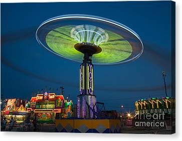 Tennessee State Fair Rides At Night I Canvas Print by Clarence Holmes
