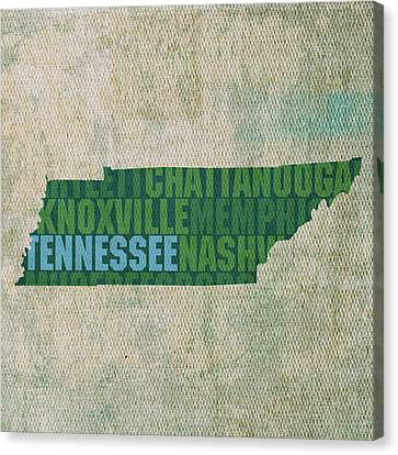 Tennessee Word Art State Map On Canvas Canvas Print