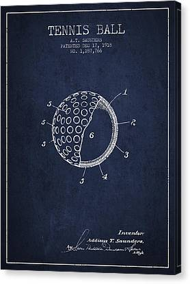 Tennis Ball Patent From 1918 - Navy Blue Canvas Print by Aged Pixel