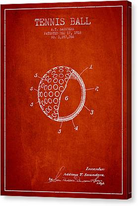 Tennis Ball Patent From 1918 - Red Canvas Print by Aged Pixel