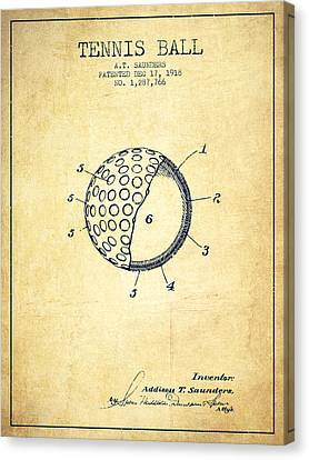 Tennis Ball Patent From 1918 - Vintage Canvas Print by Aged Pixel