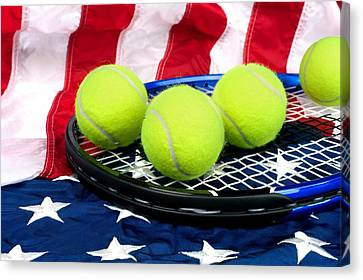 Tennis Equipment On American Flag Canvas Print