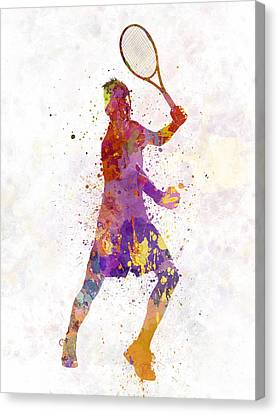 Tennis Player Celebrating In Silhouette 01 Canvas Print by Pablo Romero