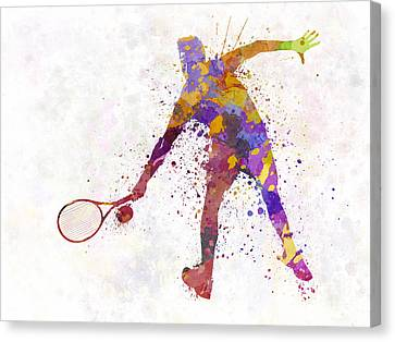 Tennis Player In Silhouette 02 Canvas Print by Pablo Romero