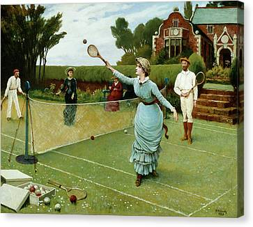 Tennis Players, 1885 Canvas Print by Horace Henry Cauty