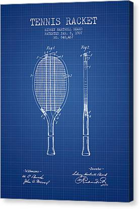 Tennis Racket Patent From 1907 - Blueprint Canvas Print by Aged Pixel