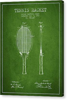 Tennis Racket Patent From 1907 - Green Canvas Print by Aged Pixel