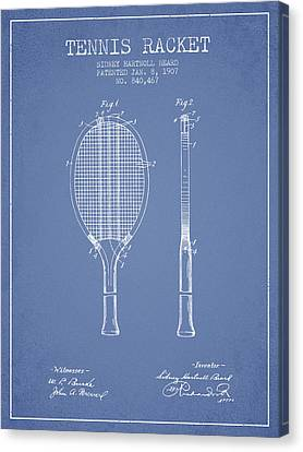 Tennis Racket Patent From 1907 - Light Blue Canvas Print by Aged Pixel