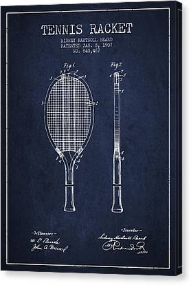 Tennis Racket Patent From 1907 - Navy Blue Canvas Print by Aged Pixel