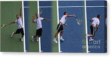 Tennis Serve By Mikhail Youzhny Canvas Print by Nishanth Gopinathan