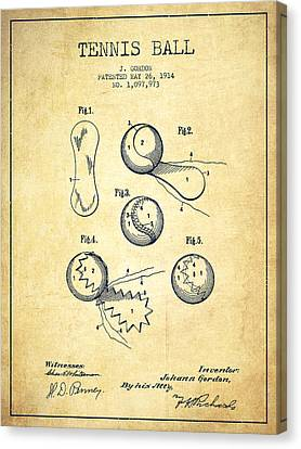 Tennnis Ball Patent Drawing From 1914 - Vintage Canvas Print