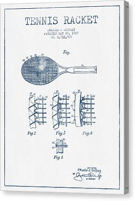 Tennnis Racket Patent Drawing From 1929  -  Blue Ink Canvas Print