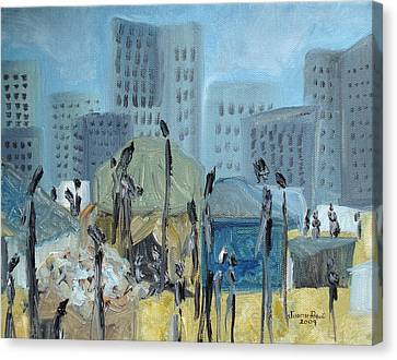 Canvas Print featuring the painting Tent City Homeless by Judith Rhue