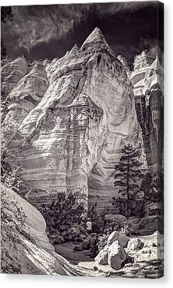 Canvas Print featuring the photograph Tent Rocks No. 2 Bw by Dave Garner