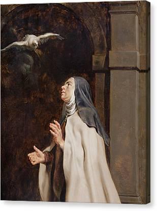 Mystic Canvas Print - Teresa Of Avilas Vision Of A Dove by Peter Paul Rubens