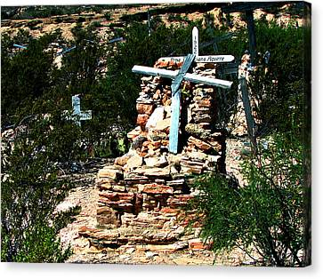 Canvas Print featuring the photograph Terlingua Cross by Linda Cox