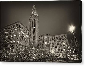 Canvas Print featuring the photograph Terminal Tower At Night by Brent Durken
