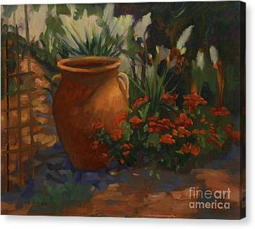 Trellis Canvas Print - Terra Cotta Garden by Maria Hunt