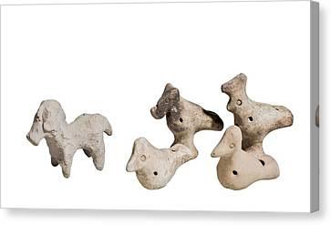 Terra-cotta Horse And Birds Canvas Print