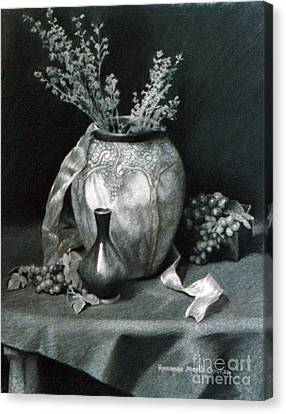 Terra Canvas Print - Terra Cotta Urn And Grapes by Rosemarie Morelli