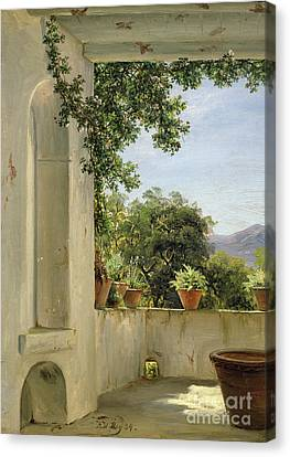 Terrace In Sorrento Canvas Print by Thomas Fearnley