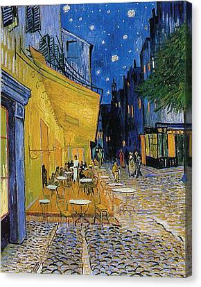 Terrace Of A Cafe At Night Canvas Print