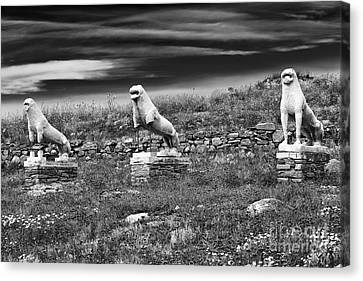 Ancient Greek Ruins Canvas Print - Terrace Of The Lions by John Rizzuto