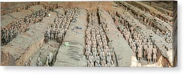 Terracotta Warriors And Horses, Xian Canvas Print by Panoramic Images