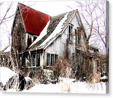 Canvas Print featuring the mixed media Terrance Laird Farm House Thedford by Bruce Ritchie