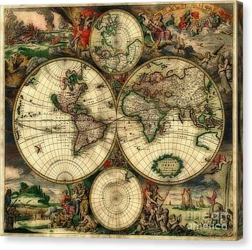 Terrarum Orbis Old World Map  Canvas Print by Inspired Nature Photography Fine Art Photography