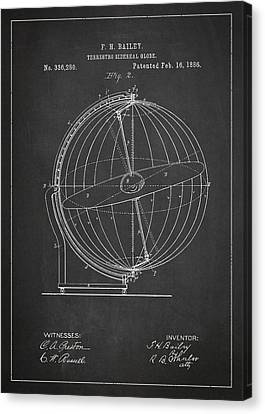Antique Map Canvas Print - Terrestro Sidereal Globe Patent Drawing From 1886 by Aged Pixel