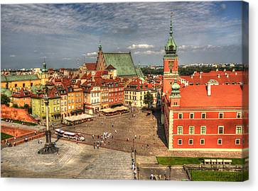Terrific Warsaw - The Castle And Old Town View Canvas Print by Julis Simo