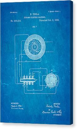 Tesla Electric Dynamo Patent Art 1888 Blueprint Canvas Print